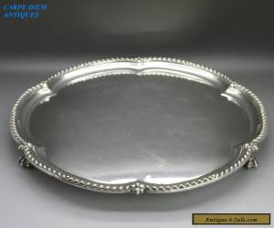 ANTIQUE EDWARDIAN HEAVY LARGE SOLID STERLING SILVER SALVER, 779g,HW, LONDON 1901 for Sale