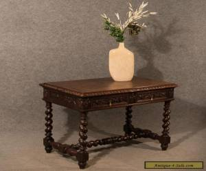 Antique Desk Library Writing Table Side Hall Victorian English Carved Oak c1870 for Sale