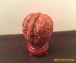 Antique Hediao Chinese WALNUT SHELL Carving - Buddhist Monks Lohan Figures for Sale