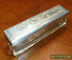 Antique Victorian Sterling Silver Glass Vanity Toiletries Box Jar Engraved  for Sale