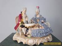 DRESDEN ORIGINAL GERMANY PORCELAIN FIGURINE COUPLE PLAYING CHESS POST 1940