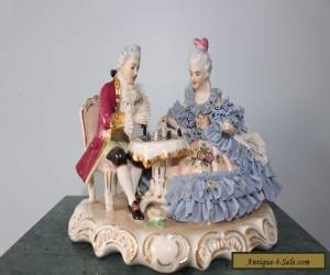 DRESDEN ORIGINAL GERMANY PORCELAIN FIGURINE COUPLE PLAYING CHESS POST 1940 for Sale