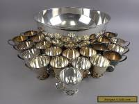 Japan Rose Motif Nickle Silver Punch Bowl & 22 Cups Silverplate