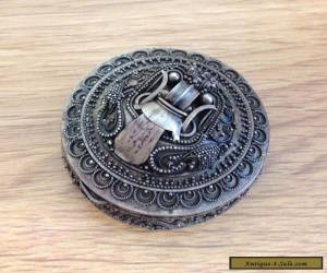 Vintage Antique Solid Silver Scarab Beetle Arabic Pill Box for Sale