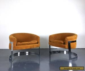 Pair Vintage Mid Century Modern Milo Baughman Style Chrome Barrel Lounge Chairs for Sale