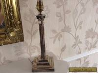 OLD VINTAGE ANTIQUE SILVER PLATED CORINTHIAN COLUMN TABLE LAMP
