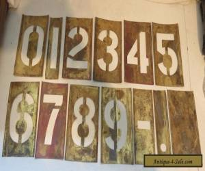 """ANTIQUE BRASS NUMBER TEMPLATES, 4"""" TALL NUMBERS. for Sale"""