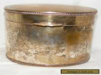 VINTAGE ANTIQUE SILVER PLATED TEA CADDY LIDDED BOX OVAL SHAPE
