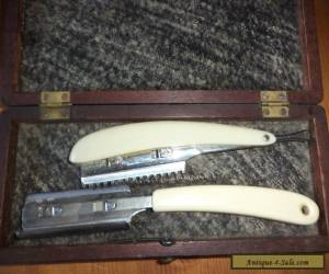 Antique  wooden  box cut throat razor  for Sale
