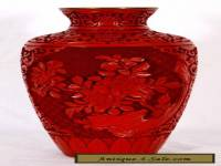 Chinese Cinnabar Vase with Blue Enamel Interior, 9""