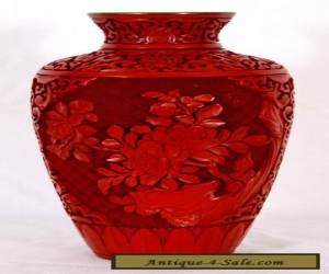 """Chinese Cinnabar Vase with Blue Enamel Interior, 9"""" for Sale"""