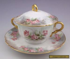 Antique Limoges Haviland CFH GDM Covered Bouillon Cup and Saucer #6 for Sale