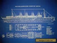 "Transatlantic Ocean Liner RMS Aquitania Cunard 1913 Blueprint Plan 24""x34""(017)"