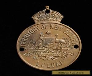 Native New Guinea Patrol Officer brass Badge LULUAI 1960s for Sale