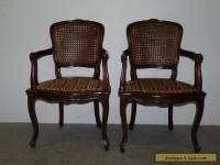 Pair Vintage Antique French Cane Back Arm Chairs Louis XV Walnut 110713