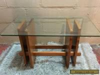 Vintage Mid Century Modern Side Table Danish Teak Wood Glass