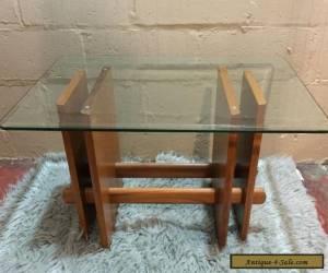 Vintage Mid Century Modern Side Table Danish Teak Wood Glass for Sale