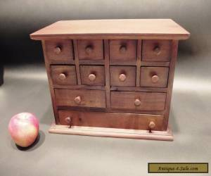 Primitive Antique Style Mahogany Wood Apothecary Spice Chest Cabinet 11 drawers for Sale