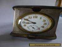 ANTIQUE SOLID SILVER TRAVEL CLOCK