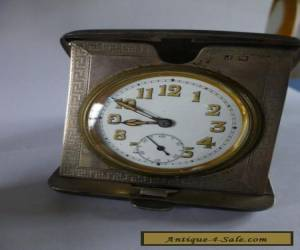 ANTIQUE SOLID SILVER TRAVEL CLOCK  for Sale