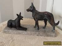 VINTAGE FRENCH ART DECO BRONZED DOGS ON PINK MARBLE BASE