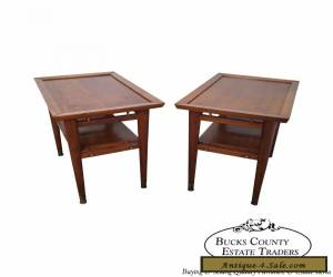 Quality Mid Century Modern Pair of Walnut Side Tables for Sale