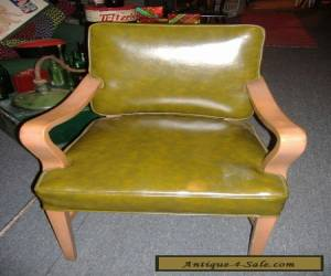 Heywood Wakefield Era Mid Century Modern Vinyl Arm Chair Vintage Antique for Sale