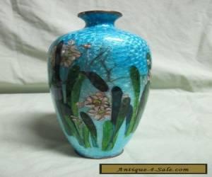 Antique Japanese Wireless Guilloche Enamel Cloisonne Vase for Sale