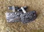 Vintage Japanes 950 S Sterling Silver etched Cufflinks for Sale
