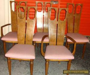 Set of 5 Vintage Mid Century Modern Sculptural Walnut Dining Chairs Danish Style for Sale