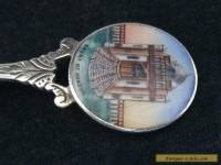 Antique solid silver and enamel spoon - Court of honour 1908