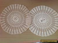 VINTAGE CROCHET  2 DOILIES - Coats Cotton 23.5 cm Ecru/beige colour  craft hats