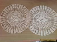 VINTAGE CROCHET  2 DOILIES - Coats Cotton 23.5 cm Ecru/beige colour  craft hats