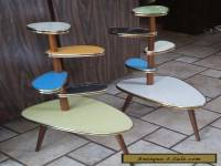 Mid century modern pair of Danish/German style tiered tables