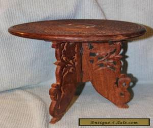 Vintage Asian Hand Carved Side Folding Wood Table (2) Pieces for Sale