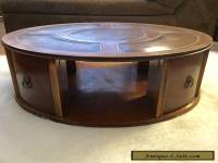 Imperial Mid century Mahogany Coffee Drum Table Duncan Phyfe Reproduction