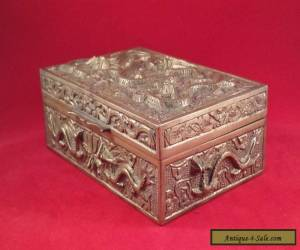 ANTIQUE CHINESE HEAVY BRASS DRAGON BOX for Sale
