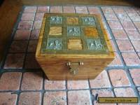 Oak Box with Fleur De Lis work on lid