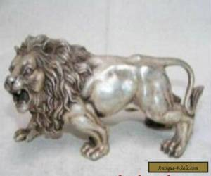 Chinese Tibet silver white exquisite bronze lion statue for Sale