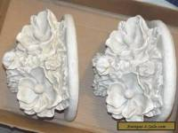 Set of 2 Wall Sconce Shelves White Ornate Flowers
