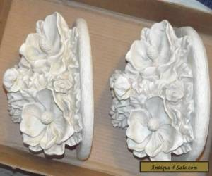 Set of 2 Wall Sconce Shelves White Ornate Flowers for Sale