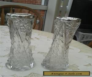 Pair of Cut Glass Sterling Silver Vases for Sale