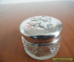 Antique Cut Glass Jar with Beautifully Embossed Sterling Silver Lid. for Sale