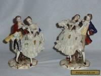 Pair Antique Furstenburg/Dresden/Lace Porcelain Couple Figures