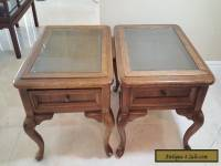 Oak End Table Pair Glass Top  Vintage