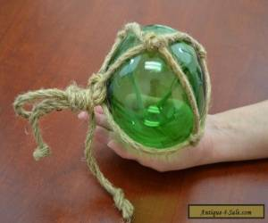 "REPRODUCTION GREEN GLASS FLOAT BALL WITH FISHING NET 5"" #F-950 for Sale"
