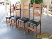 Antique Stickley Mission Style Set of 4 Ladder Back Oak Dining Chairs Craftsman