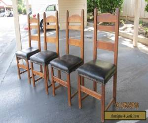 Antique Stickley Mission Style Set of 4 Ladder Back Oak Dining Chairs Craftsman for Sale