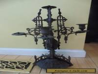 "Vintage Candelabra Victorian antique Brass bronze 19"" Gothic table candle stick"