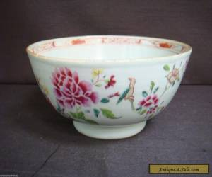 ANTIQUE 19TH CENTURY CHINESE BOWL FLOWERS AND BIRD for Sale